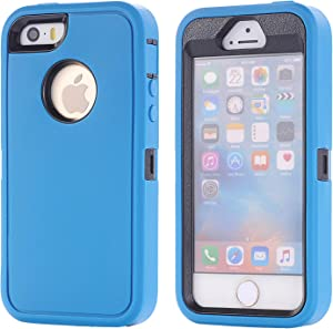 iPhone SE Case,(1nd gen) Lordther [ShieldOn Series] [Military Grade Drop Test] Hybrid Synthetic Rubber TPU Covers with [Screen Protector] Only for iPhone SE 5SE 5 5s (Blue Black)
