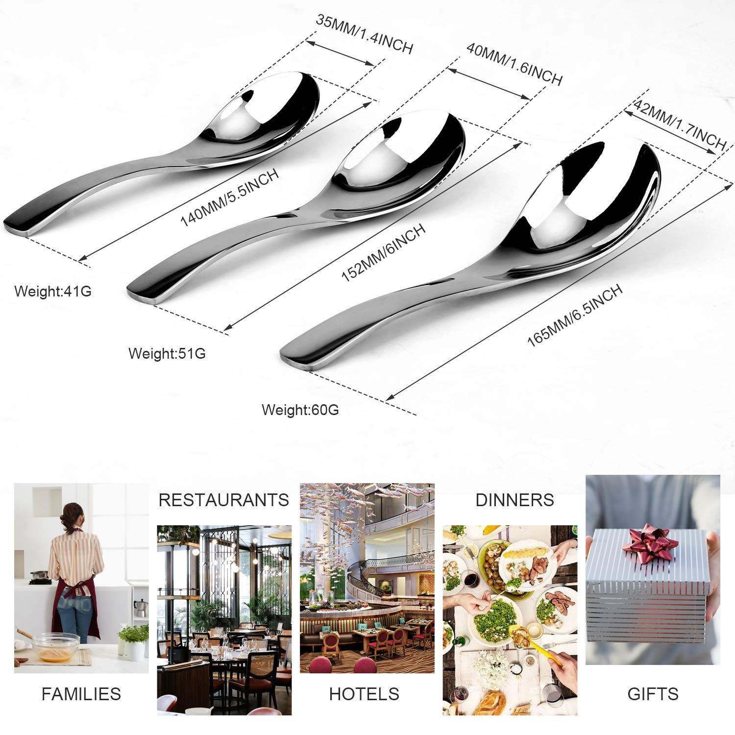 Kitchen Restaurant Party Tableware Serving Utensils 3 Sets of Spoons CARIHOME Stainless Steel Serving Spoons For Buffet Can Banquet Cooking Kitchen Basics
