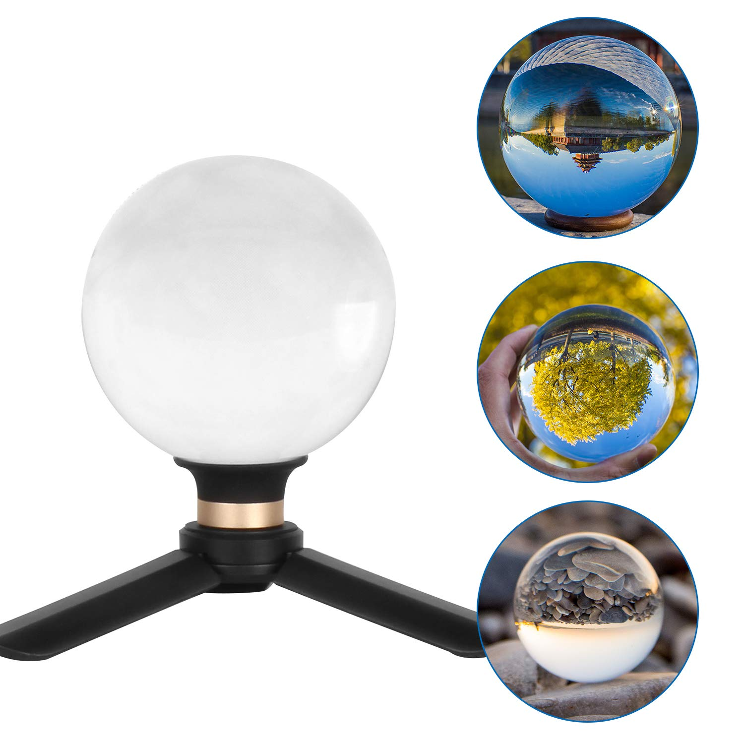Besnfoto Crystal Ball Photography 90mm K9 Lens Ball with Mini Tripod and Suction Mount Base Stand Clear Decorative Glass Props Ball with Padded Shockproof Sleeve Bag by Besnfoto