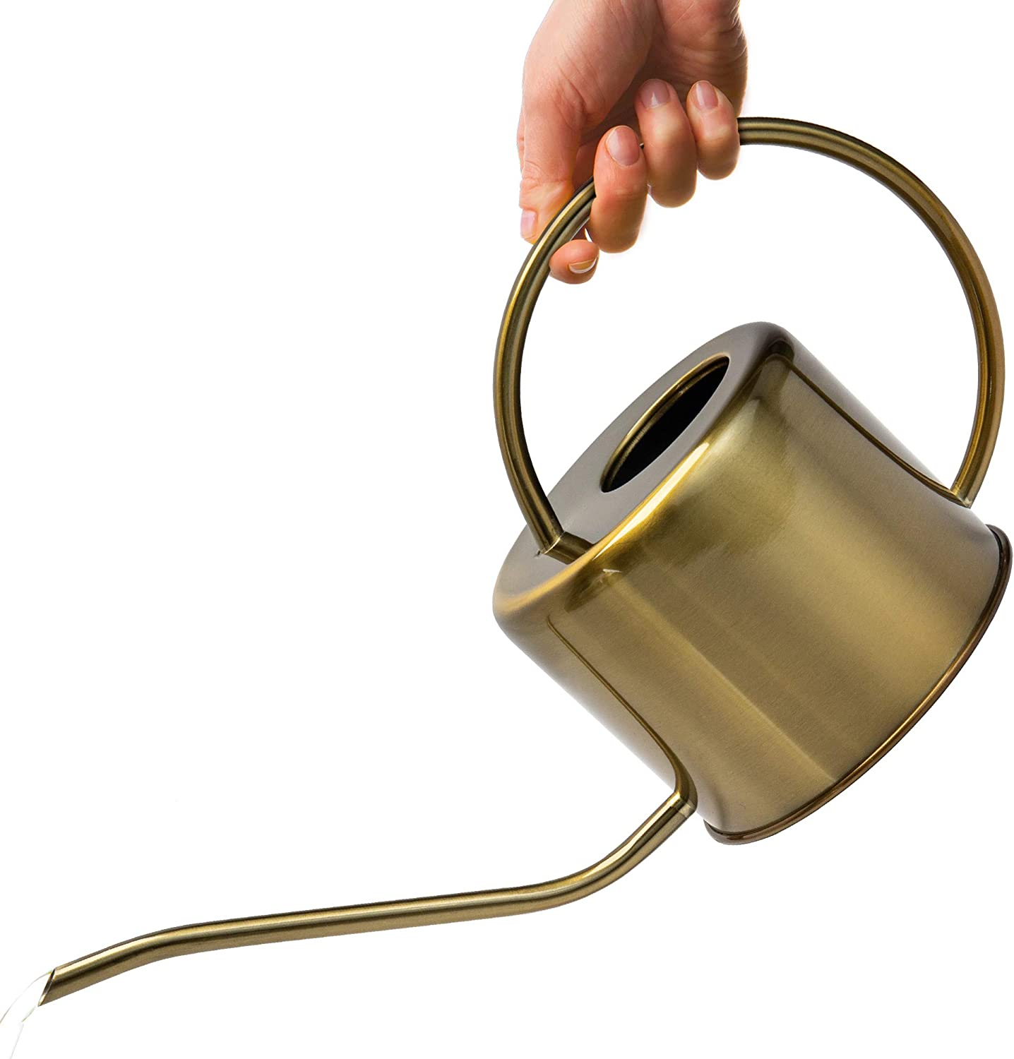 KIBAGA Decorative Gold Colored 40oz Watering Can - Easy Pour Gooseneck Spout for Fast and Easy Indoor Plant Watering