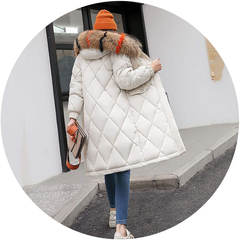 Beige The small cat Winter Women Down Jacket Hooded Fur Collar Long Female Coat 2018 Winter Warm Women Duck Down Coat