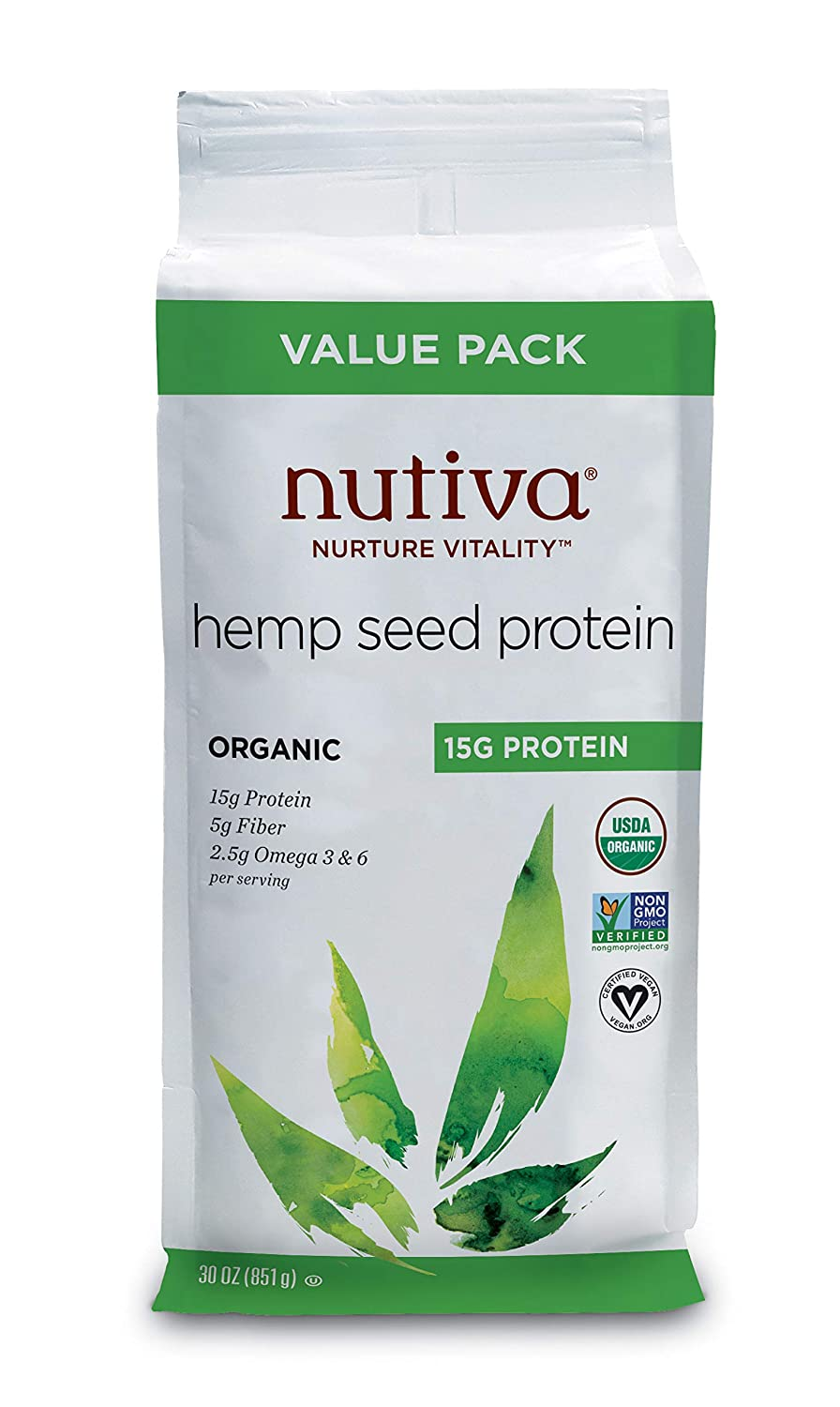 Nutiva Organic Cold-Pressed Raw Hemp Seed Protein Powder, 15G Protein, 30 Ounce | USDA Organic, Non-GMO | Vegan, Gluten-Free, Keto & Paleo | Plant Protein with Essential Amino Acids