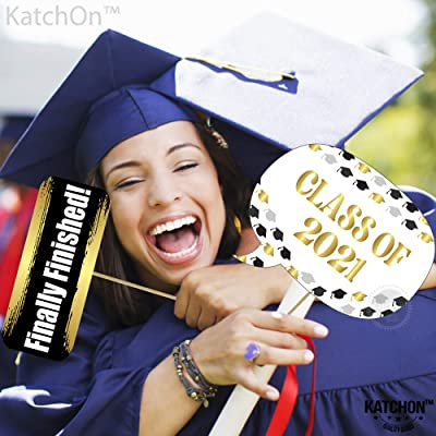 Graduation Photo Booth Props Real Glitter Graduation Decorations 2019 50 Pcs