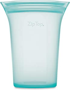 Zip Top Reusable 100% Platinum Silicone Containers - Large Cup - Teal
