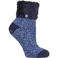 Heat Holders Original Lounge Socks Annabelle Navy-Blue Twist UK 9-12 BigFoot