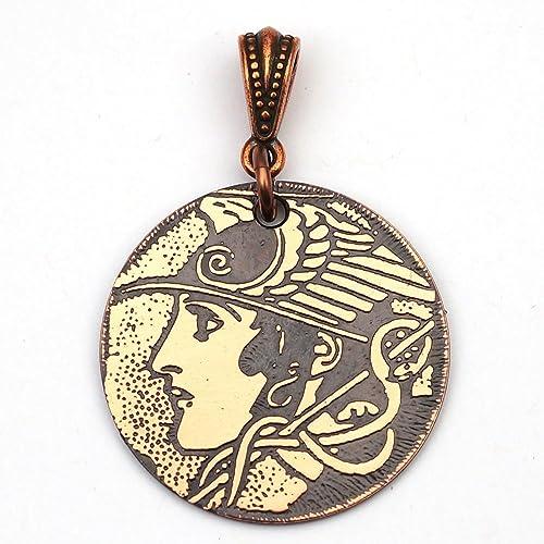 Amazon Round Etched Copper Hermes Greek God Pendant 28mm Handmade