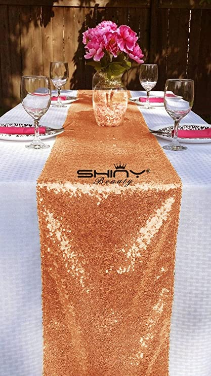 Merveilleux ShinyBeauty 14x132 Inch Rectangle Rose Gold Sequin Table Runner On Sale  (14x132 Inch