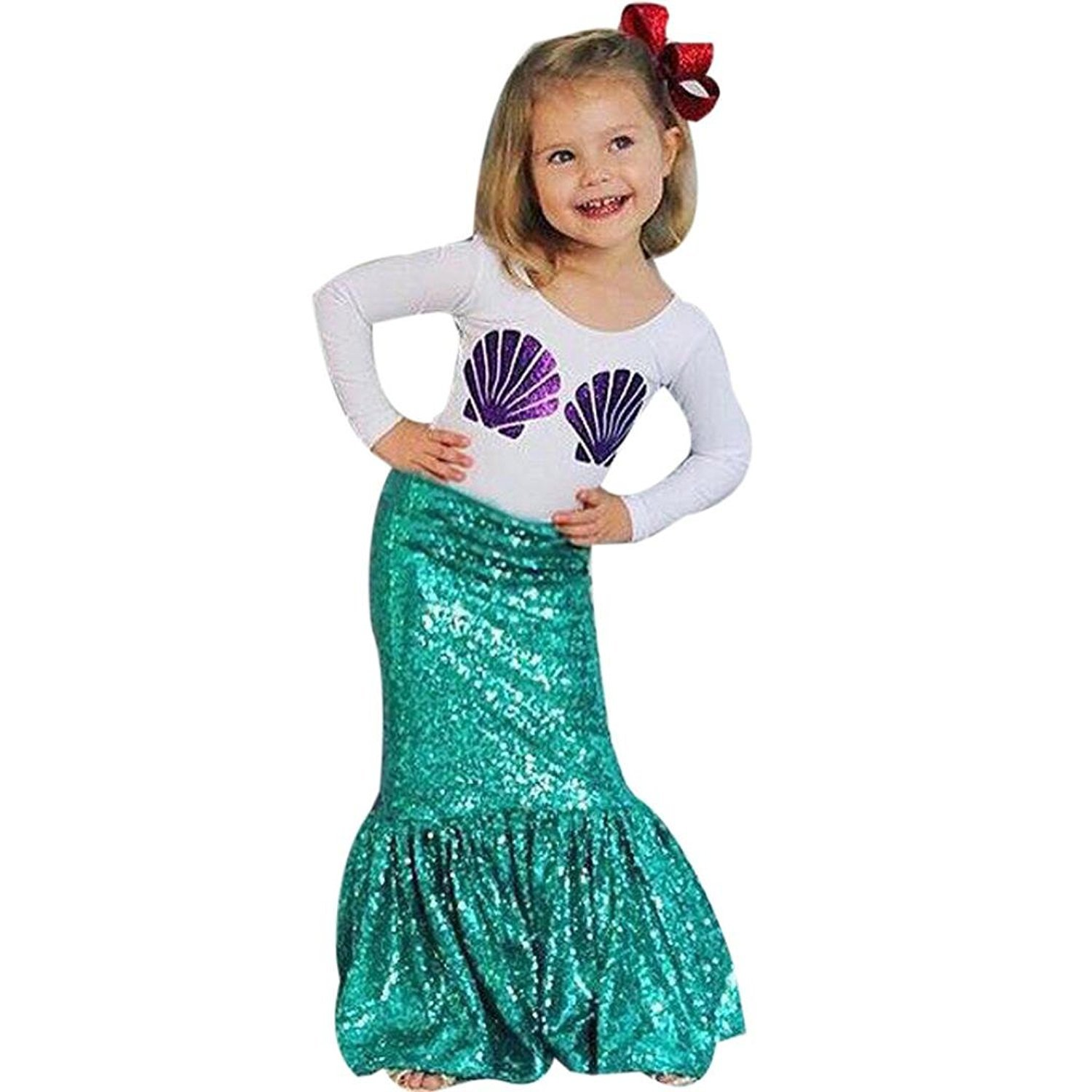GQMART Fashion Kids Girl Shell Print T-Shirt Tops Mermaid Skirt Outfits Clothes