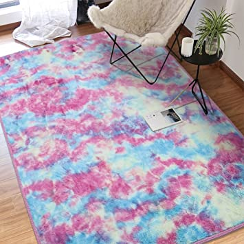 Amazon Com Junovo Rainbow Style Area Rugs Anti Slip Fluffy Thick