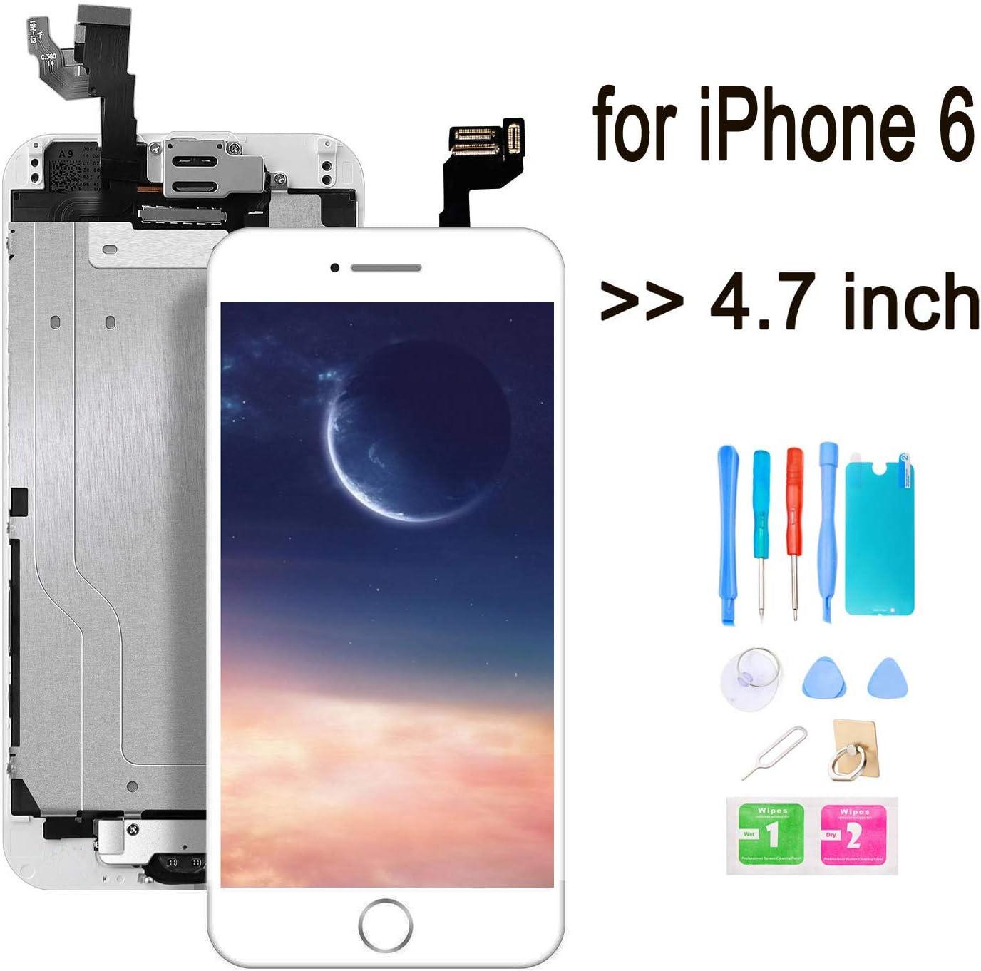 GLOBAL GOLDEN /écran pour iPhone 6 LCD de Remplacement Complet Noir avec Bouton Home /Écouteur Interne Cam/éra De Face et La Outils+Protection ecran