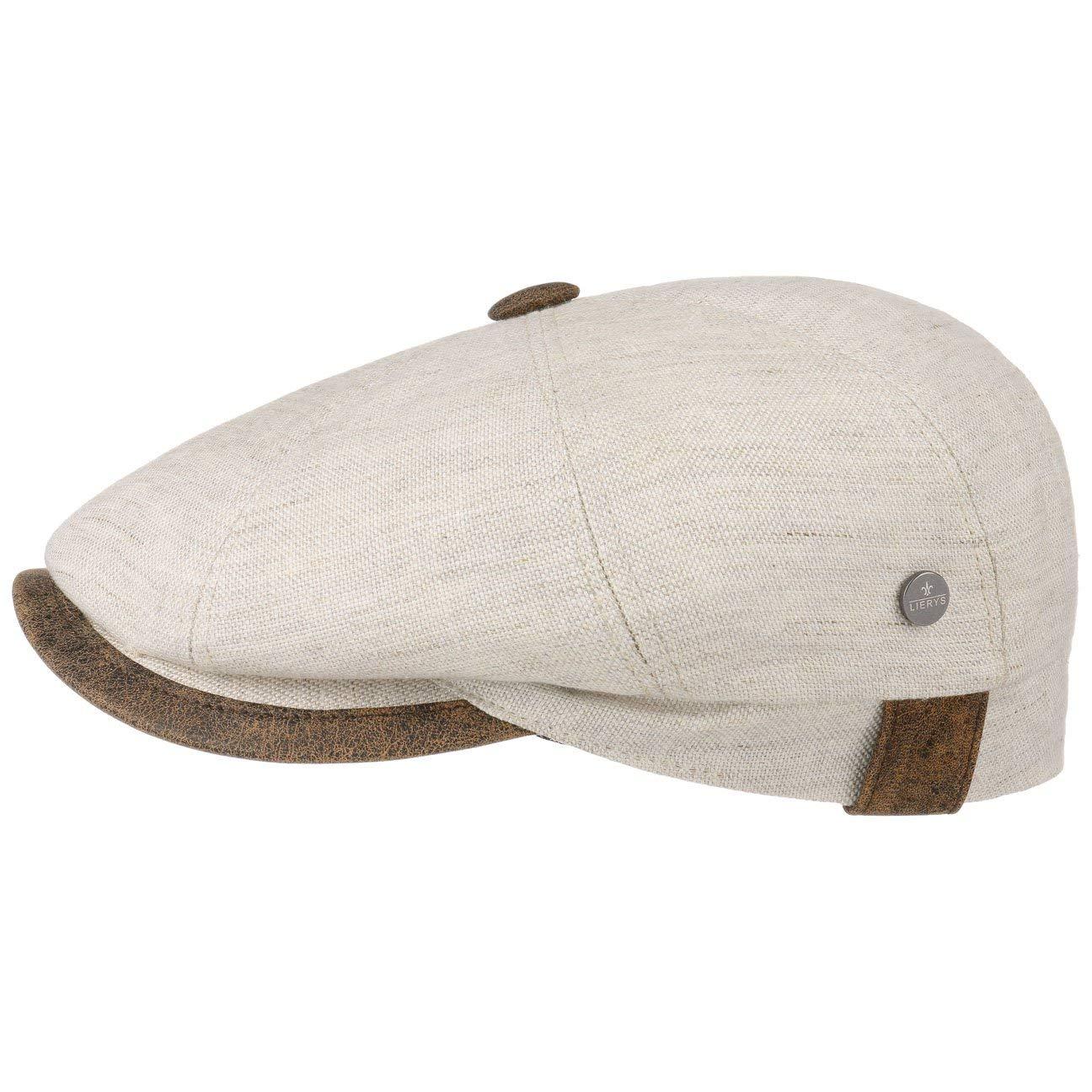 Lierys City Leather Piping Linen Cap Women/Men Nature-Brown 7 1/4 by Lierys