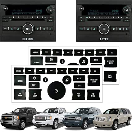 SunTrade 2PCS Radio Repair Kit Dash Replacement Stickers,for 2007-2013 GM  Head Unit Radio Vehicles Decal Stickers
