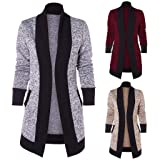 Yemenger Women Casual Draped Collar Open Front High Low Cardigan Sweaters with Pockets Ladies Blazer Winter Coat Jacket