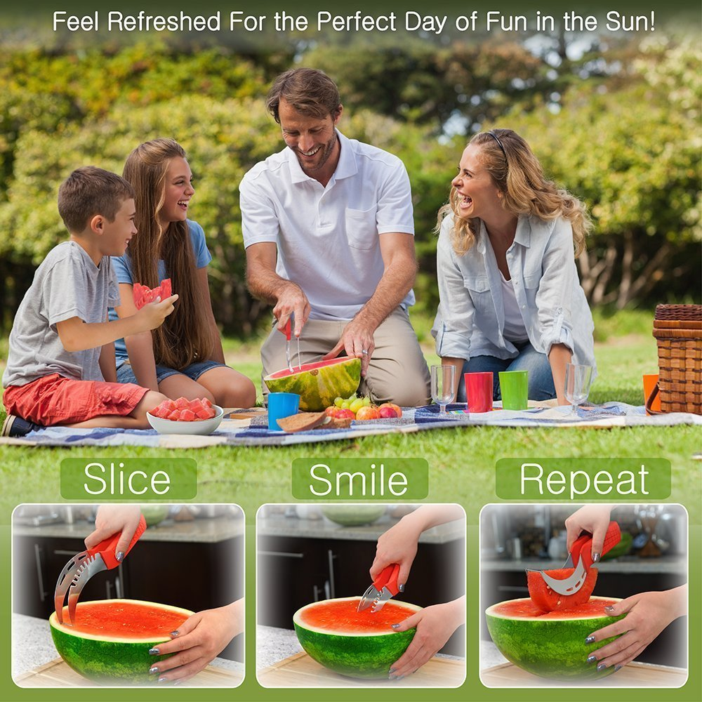 Watermelon Slicer & Tong by Sleeké - New Extended Silicone Cushioned Handle Made to Slice and Serve with Ease - No Mess, Less Stress by Sleeké (Image #6)