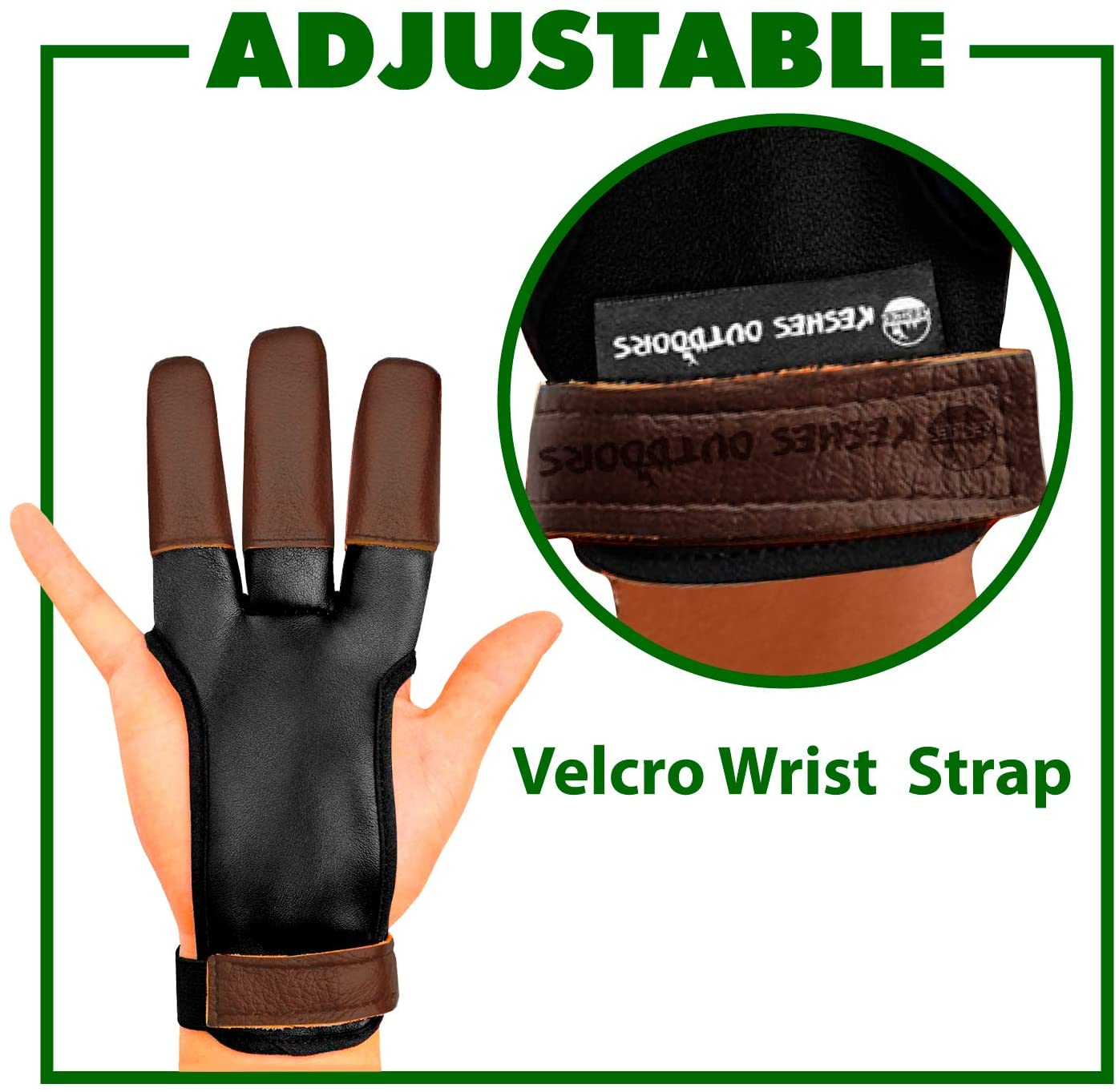 KESHES Archery Glove Finger Tab Accessories Large Three Finger Guard for Men Women /& Youth Leather Gloves for Recurve /& Compound Bow