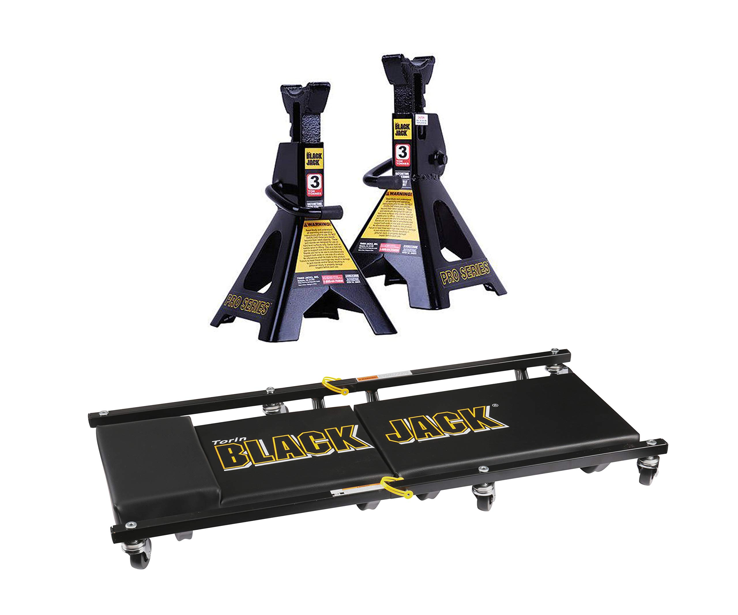 Torin Jack 3-Ton Jack Stand Pair Bundle Black Jack Professional Series Two-Piece Creeper