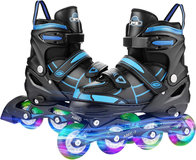 Adjustable Kids Roller Blades Breathable Inline Skates W// Light Up Flash t g 12