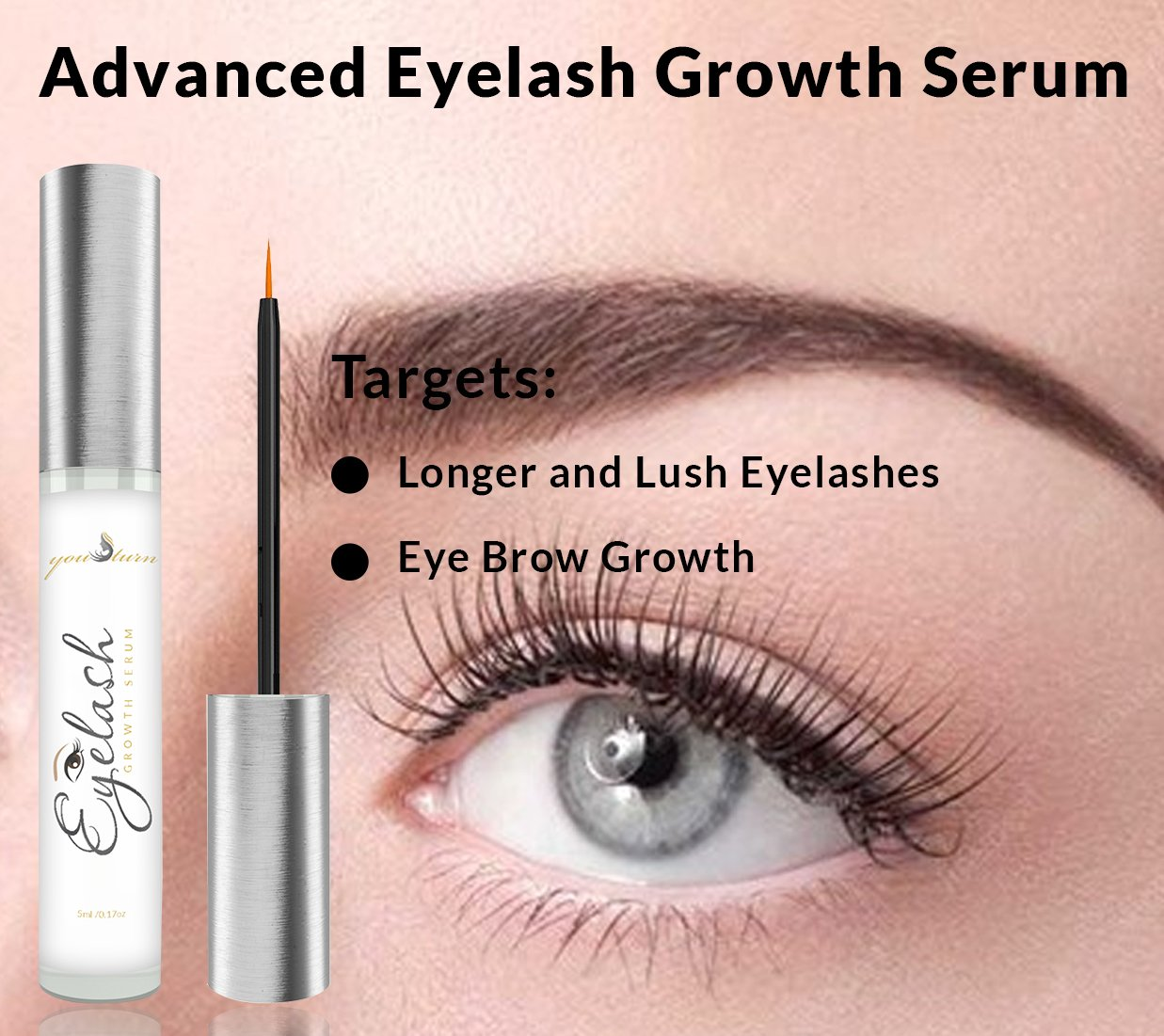 67ce1e0a1da Amazon.com: Lash Growth Serum - Best Eyelash Growth Serum For Fuller &  Thicker Lashes & Brows - Supports Eyelash Growth, Eyebrow Growth, Thinning  Lashes, ...