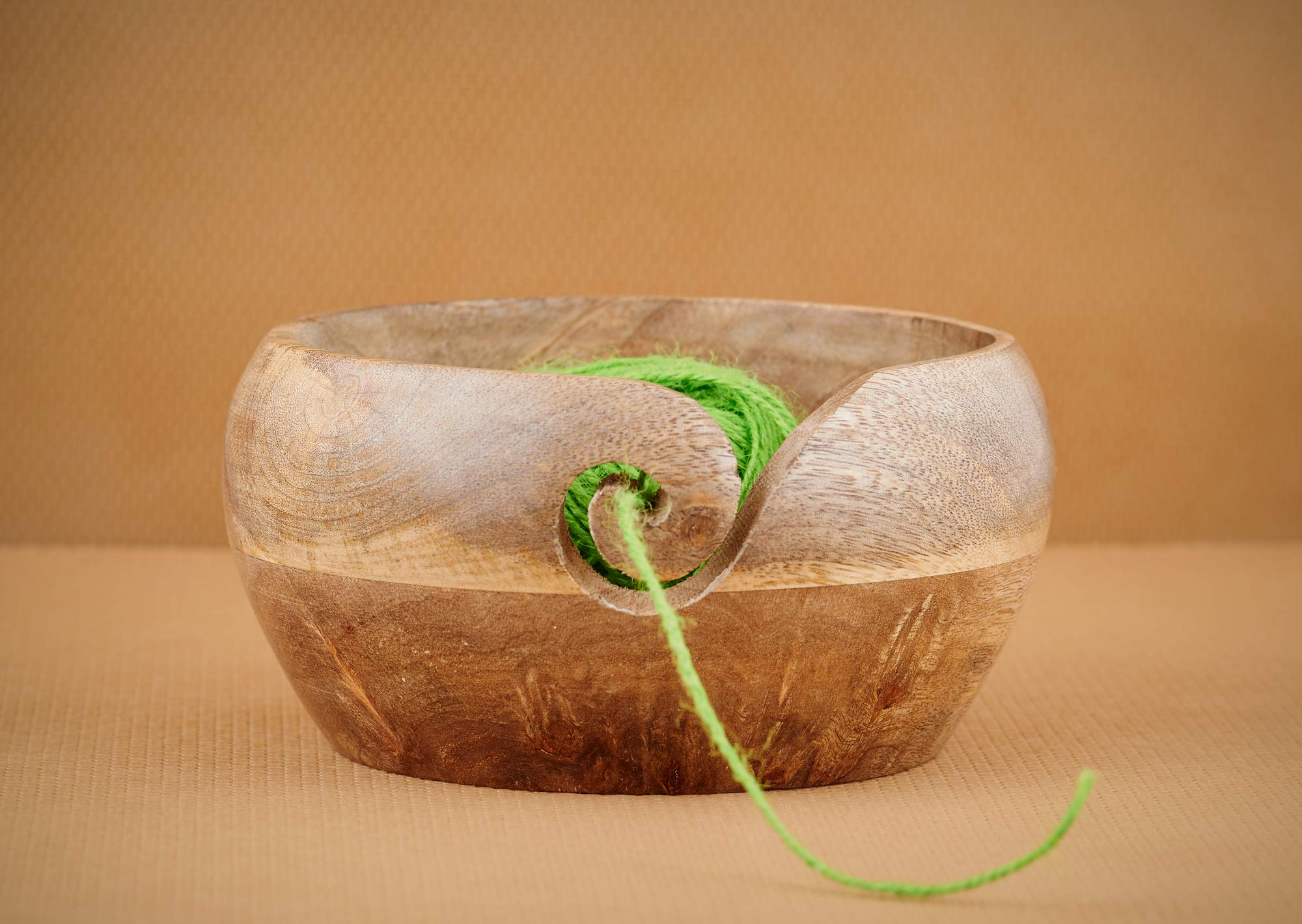 Mother's Day Special Wooden Yarn Bowl for Knitting and Crochet, Large Size 6'' X 3'' Durable and Portable Yarn Storage for Knitters- Beautiful Gift on All Occasions. (Design 4)