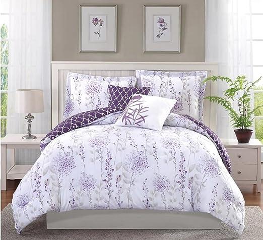 Romántico Lavanda Flores, colcha conjunto, con diseño de