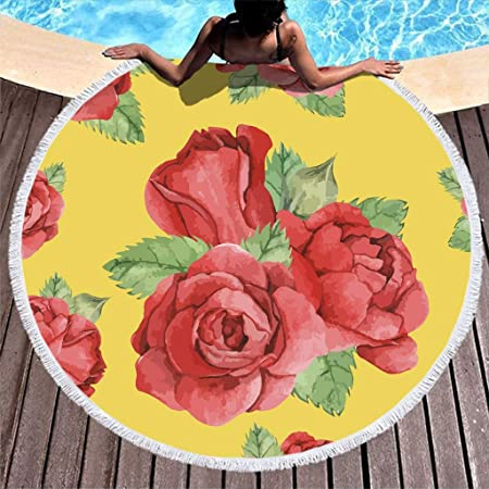 Shinelly Roses - Toalla de Playa, Esterilla de Yoga, Mandala India, Redonda, algodón, Mantel, Toalla de Playa, Esterilla de Yoga Redonda, Bufanda, 59 en la Playa, Tiempo Libre, Rosas, 150 cm: Amazon.es: Hogar