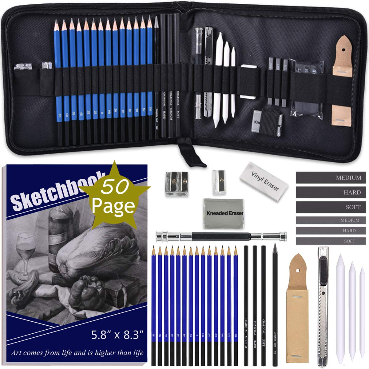 ARTOSA Drawing Pencils with Sketch Book 50 Pages, 35 Piece Sketch Pencils Professional Drawing Kit in Zipper Case, Sketching Art Set with Graphite Charcoal Sticks Tool for Adults Kids(All in One Case) by ARTOSA