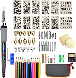75Pcs Wood Burning Kit, Wood Burning Tool with LCD Display Wood Burning Pen Adjustable Temperature Soldering, Embossing/Carving/Soldering Tips/Carrying Case. (Gray)