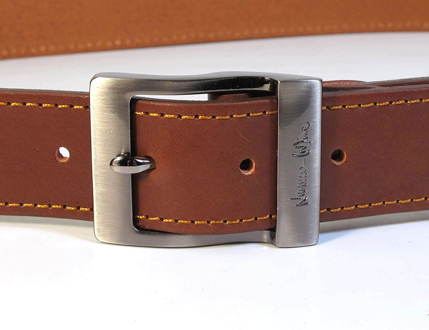 CM7 Mens Real Genuine Leather Dark Brown Belt 1.5 Wide S-XL Thick Casual Jeans