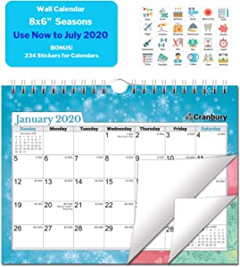 Small School Year Wall Calendar 2019-2020 (Seasons) 8x6, Use Now to July 2020, Mini Bulletin Board Calendar, Hanging Academic Calendar with Stickers for Calendars, Monthly Wall Calendar