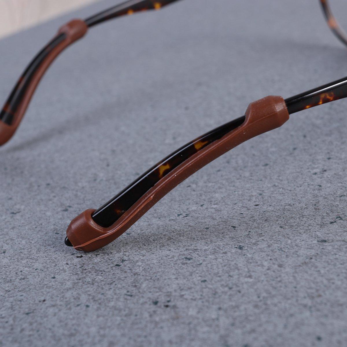ROSENICE Ganci auricolari antiscivolo in silicone per occhiali da sole Occhiali da sole 5 paia Marrone