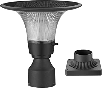 Outdoor Solar LED Post Light-Two Mounting Ways - Pole/Pier Mount Adjustable Color Temperature Warm/White - Aluminum Solar Pole Lamp Dusk to Dawn, SF-003