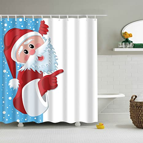 Jineams Christmas Shower Curtains Cute Santa Art Festival Decorations