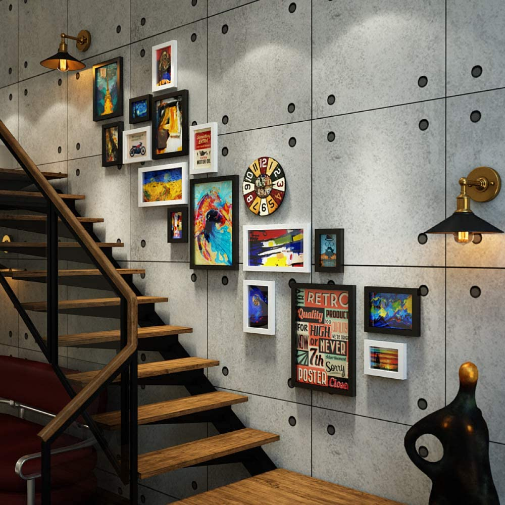 2REMISE Escalera Foto Pared Industrial Viento Combinación Marco De Fotos Retro Intercambiable Foto Pared Hu Blanco 188 * 144 Cm: Amazon.es: Hogar