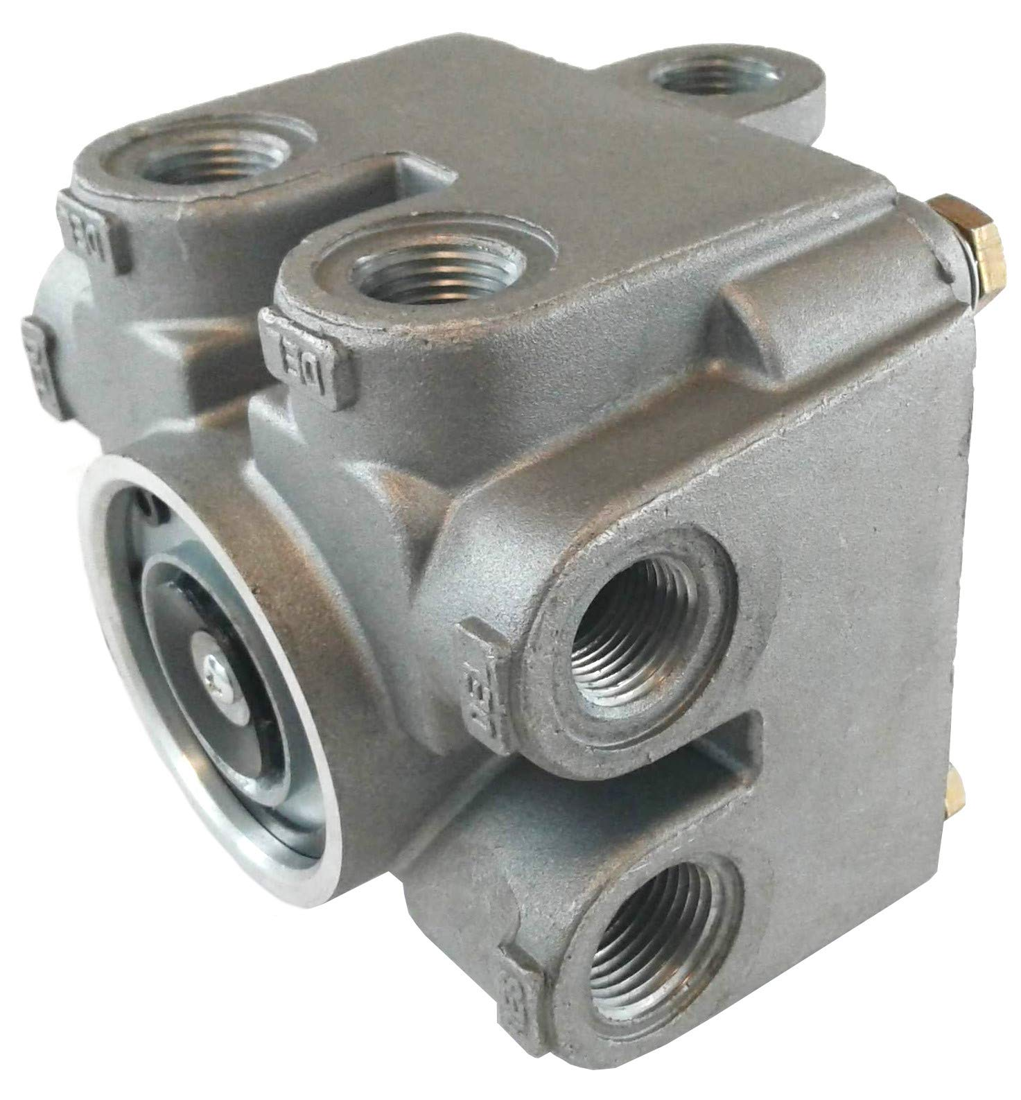 4 Port Tractor/Trailer Single Control Air Brake Relay Valve - 7.0 PSI for Heavy Duty Big Rigs