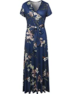703ce414b9fb Melynnco Women s Vintage Floral Faux Wrap V Neck Short Sleeve Maxi Dress