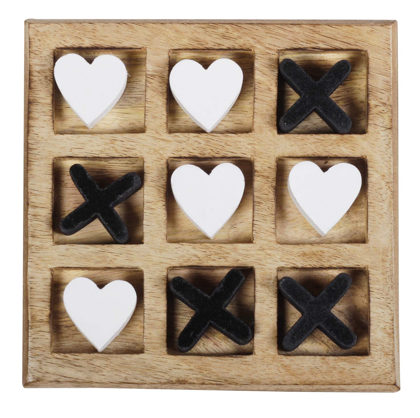 Great Gifts for Kids for All Occasions ARTISENIA/_The StoreKing Handmade Wooden Tic Tac Toe Game for Kids 7 and Up Black /& White