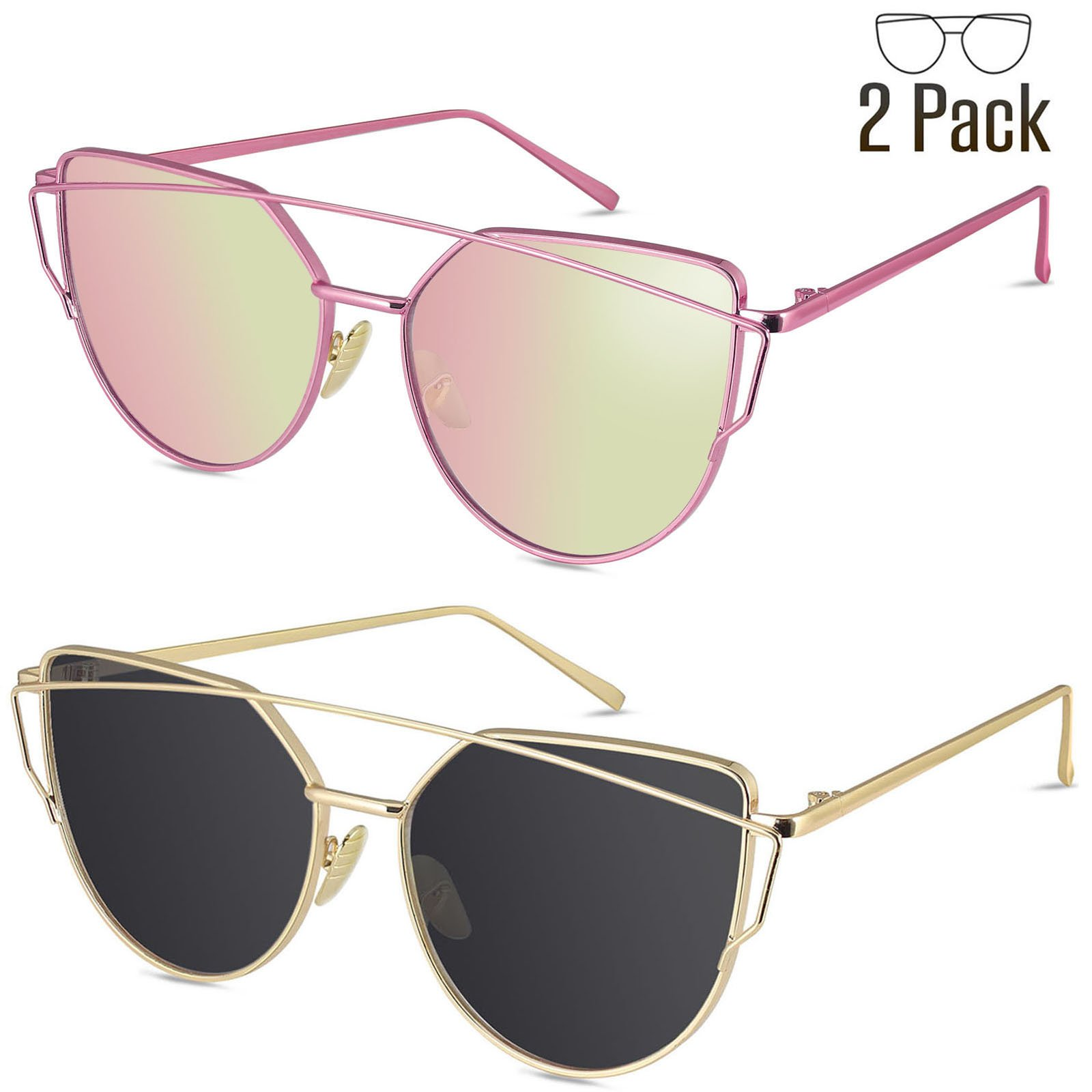 Livhò Sunglasses for Women, 2 Pack Cat Eye Mirrored Flat Lenses Metal Frame Sunglasses UV400 (Gold Gray + Light Pink)