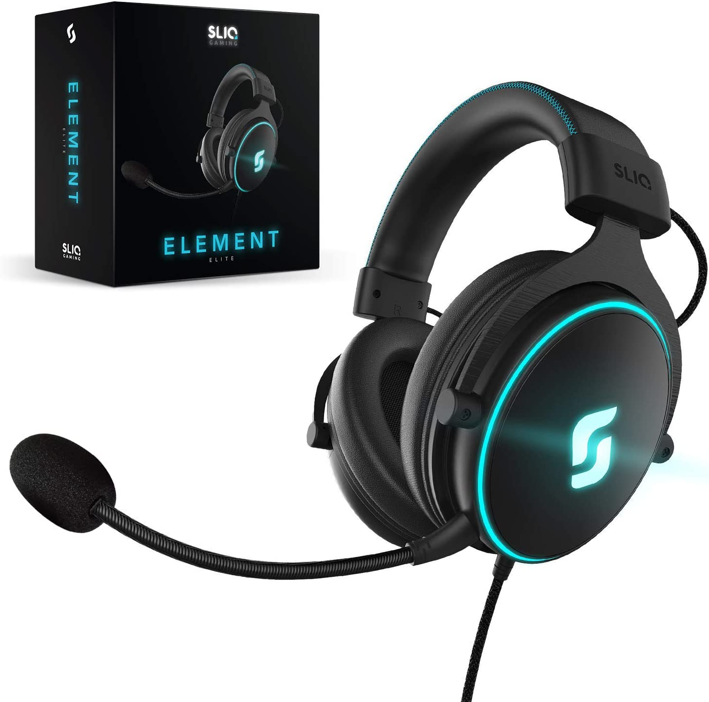 Amazon Com Sliq Gaming Element Elite Stereo Sound 53mm Pc Gaming Headset Headphone Led Edition For Pc Xbox One Ps4 Detachable Microphone Mic Metal Frame In Line Audio Controls 3 5mm Jack Home