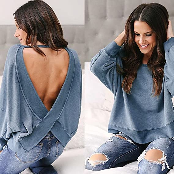 ALIKEEY Ladies Open Back Top Casual Camisa Manga Larga Irregular Backless Tops Blusa Sexy O - Neck Sweater Sudadera Pullover Mujeres Top Vertical Suelta ...