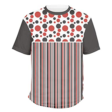ce98bed4e31898 Red & Black Dots & Stripes Men's Crew T-Shirt - Small (Personalized)