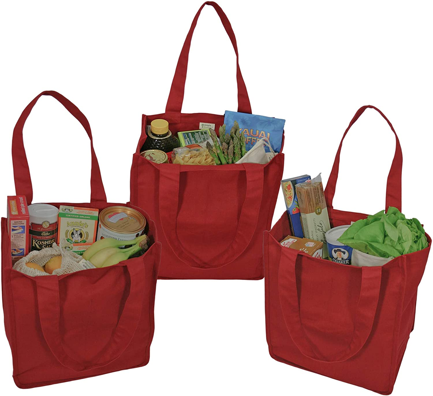 Simple Ecology Organic Cotton Deluxe Reusable Grocery Shopping Bag with Bottle Sleeves - Red 3 Pack (heavy duty, washable, durable handles, foldable, craft & gift bag, 6 bottle wine bag carrier)