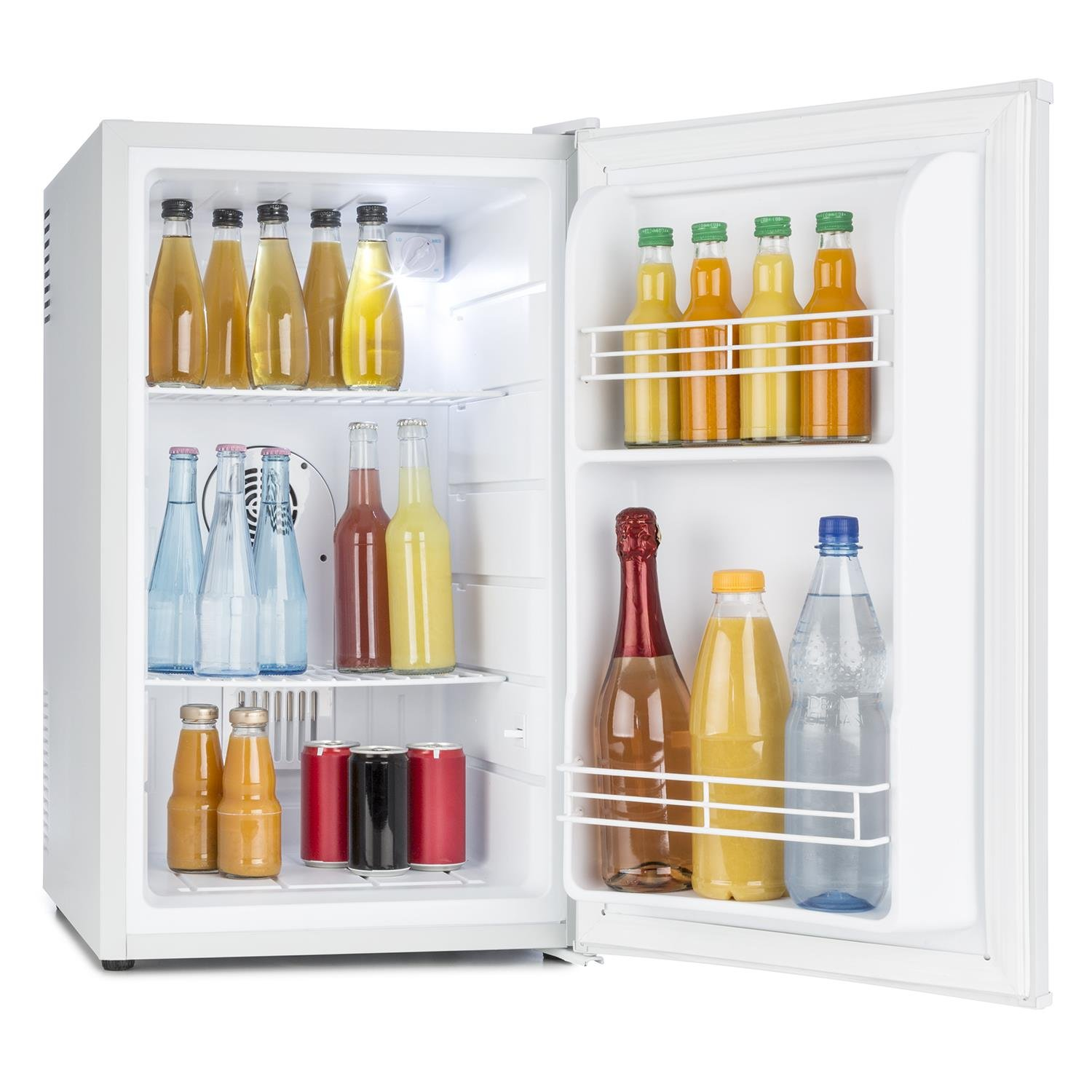 Klarstein MKS-6 Mini Bar Mini Fridge Refrigerator A 66L Quiet 30dB 43x72.5x51.5cm 2 Shelves Side Compartments 3 Step Temperature Regulator Matt White Housing White [Energy Class A]
