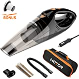 [Upgraded] Car Vacuum Cleaner with LED Light, HOTOR DC12-Volt Wet/Dry Portable Handheld Auto Vacuum Cleaner for Car,16.4FT(5M)Power Cord with Carry Bag(Black)