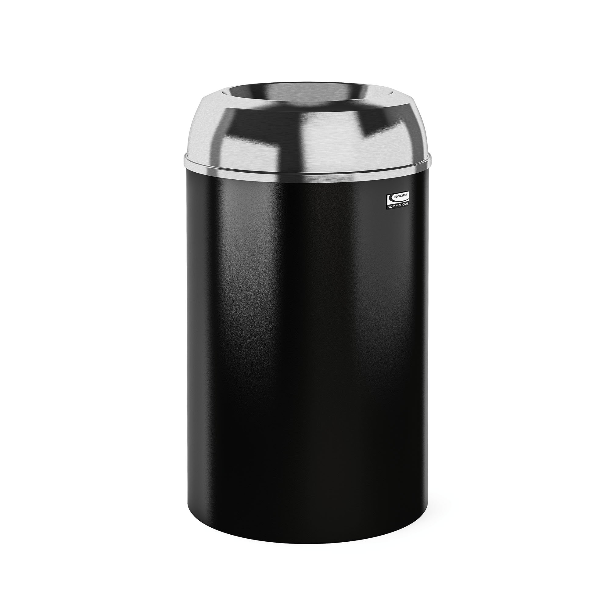 Suncast Commercial MTCIND3002 Indoor Decorative Trash Can, Aluminum Lid with Black Base, Silver/Black