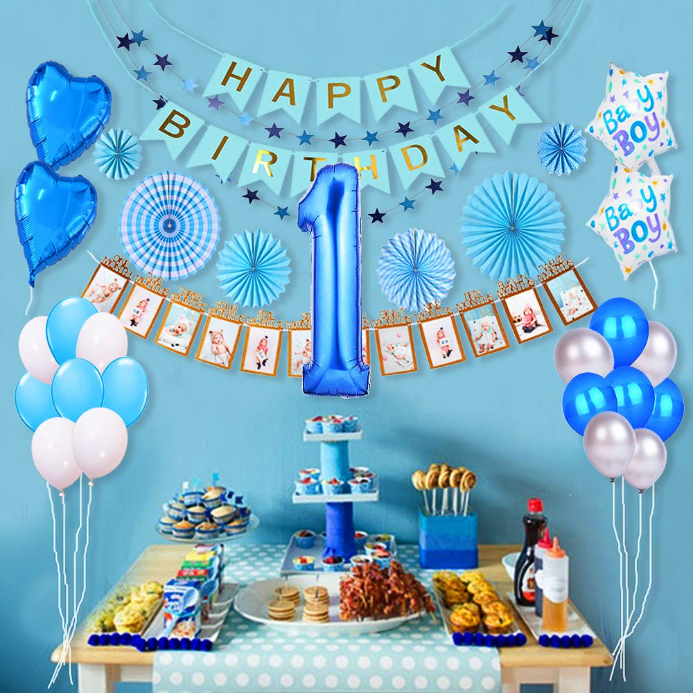 1st Birthday Boy Decorations Kit Baby Boy 1st Birthday Decorations Prince Theme Party Pack High Chair Banner 12 Month Photo Banner Happy Birthday Banner Blue And White Balloons Paper Fans Amazon In Toys