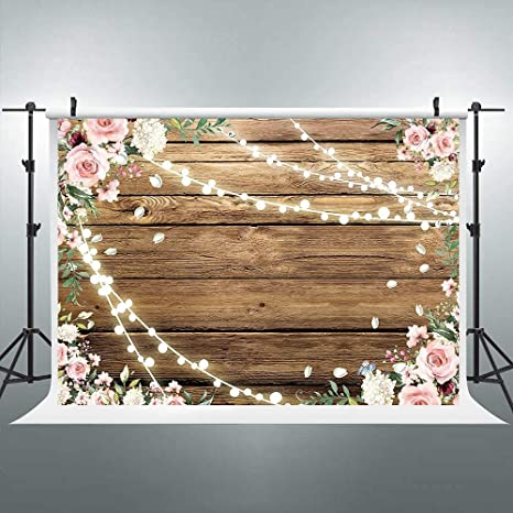 5x5FT Vinyl Wall Photography Backdrop,Country,Willow Lilies Hyacinths Background for Baby Birthday Party Wedding Studio Props Photography