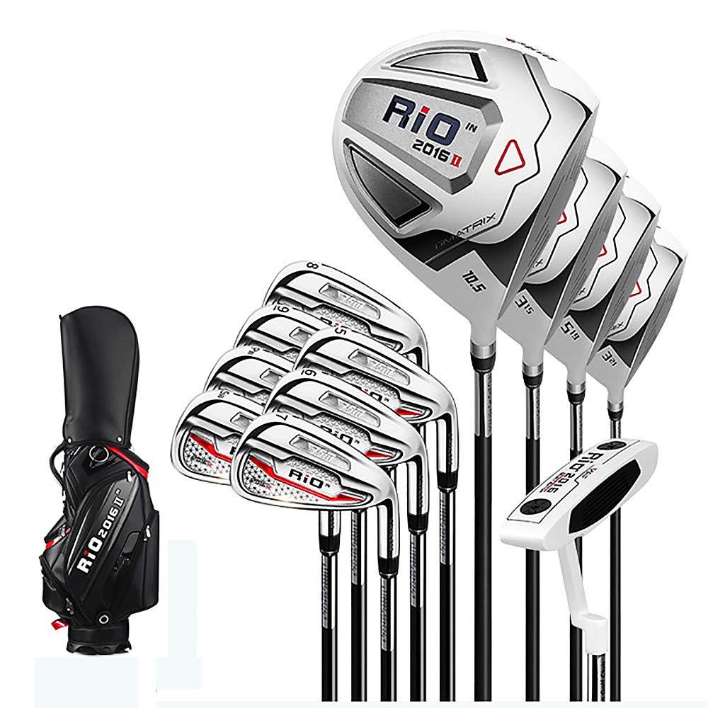 メンズゴルフクラブセット、12クラブ + 標準ボールバッグ、460CC 大容量ヘッド、CNC 滑り止め溝デザイン、ゴルフビギナークラブ