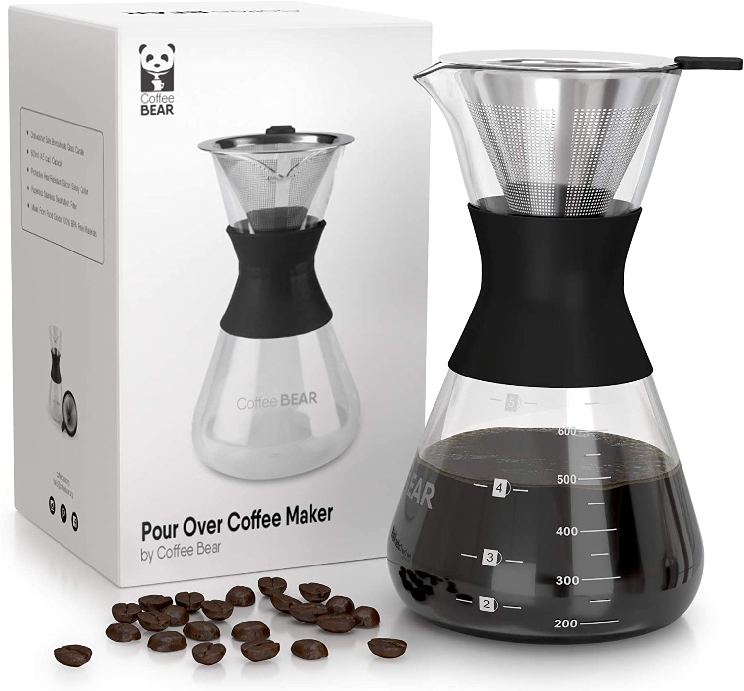Pour Over Coffee Maker By Coffee Bear - Reusable Stainless Steel Filter - 3 Cup Borosilicate Glass Coffee Dripper Set