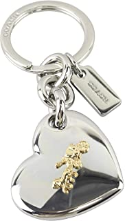 Coach Women s Horse and Carriage Heart Bag Charm Key Ring Fob Silver Gold  One Size af2d0eb832