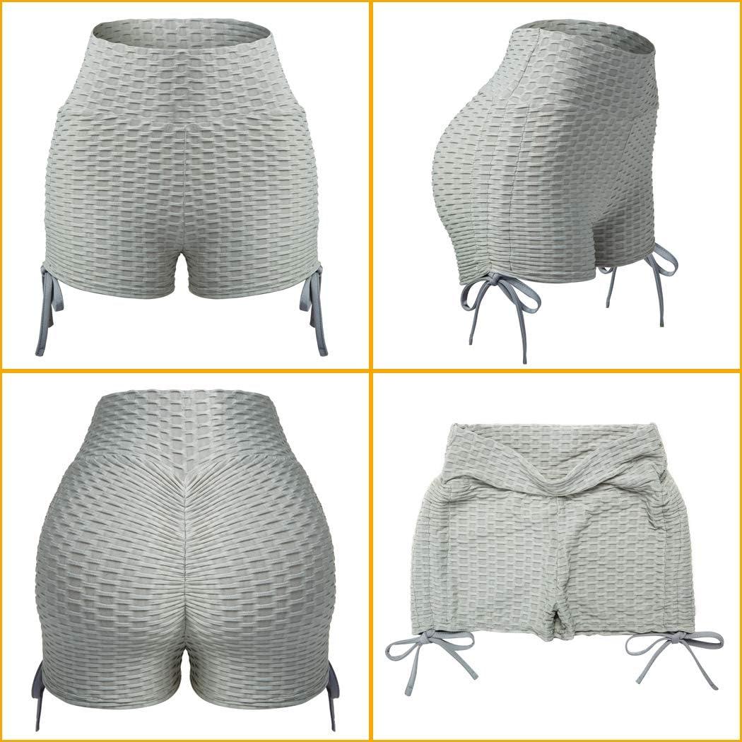 FLORATA Butt Lifting Yoga Shorts for Women Tummy Control Leggings Textured Ruched Running Shorts